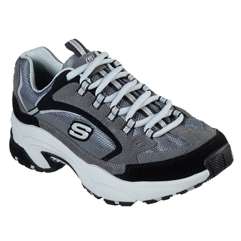 SKECHERS WOMEN'S STAMINA - CROSS ROAD LIFESTYLE SHOE CHARCOAL/BLACK