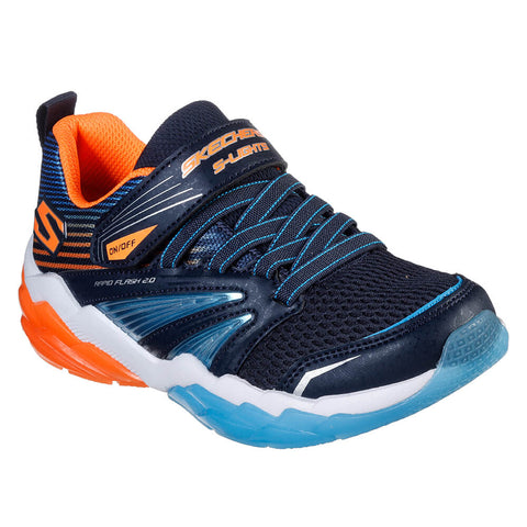 SKECHERS BOYS PRE-SCHOOL RAPID FLASH 2.0 KIDS SHOE NAVY/ORANGE