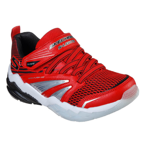 SKECHERS BOYS PRE-SCHOOL RAPID FLASH 2.0 KIDS SHOE RED/BLACK