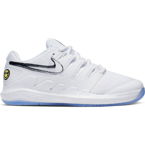 NIKE BOYS VAPOR X KIDS TENNIS SHOE WHITE/WHITE/BLACK