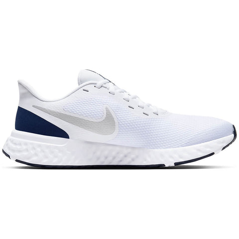 NIKE MEN'S REVOLUTION 5 RUNNING SHOE WHITE/METALLIC SILVER/NAVY