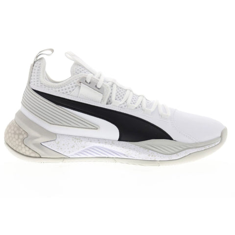 PUMA MEN'S UPROAR HYBRID COURT CORE BASKETBALL SHOE WHITE/GREY