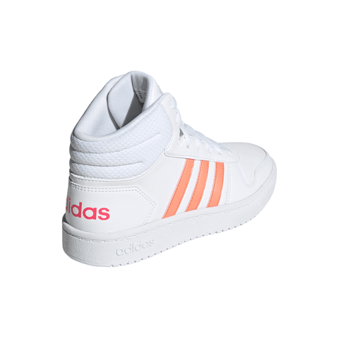 ADIDAS GIRLS GRADE SCHOOL/PRE-SCHOOL HOOPS MID 2.0 KIDS SHOE WHITE/CORAL/PINK