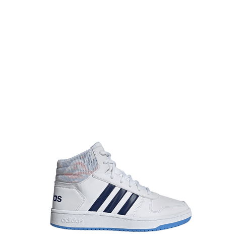 ADIDAS GIRLS GRADE SCHOOL HOOPS MID 2.0 KIDS SHOE WHITE/DARK BLUE/BLUE