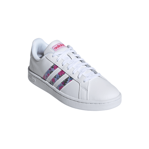 ADIDAS WOMEN'S GRAND COURT LIFESTYLE SHOE WHITE/BLUE/PINK