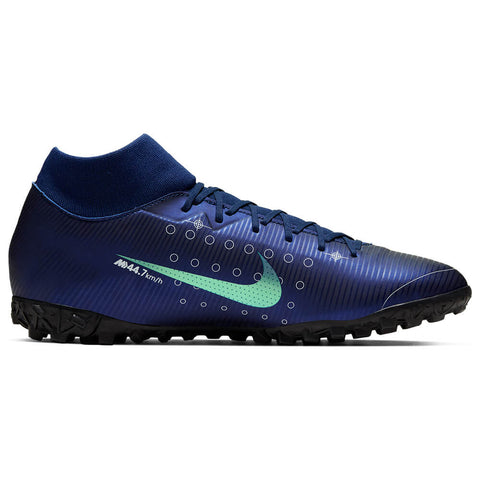 NIKE MEN'S MERCURIAL SUPERFLY 7 ACADEMY MDS BLUE/WHITE/BLACK/METALLIC SILVER INDOOR TURF SOCCER CLEAT