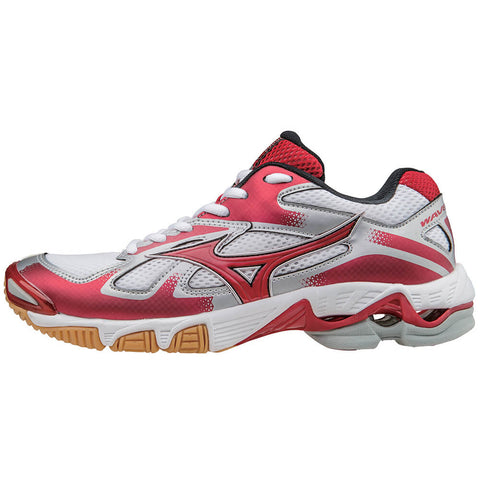 MIZUNO WOMEN'S WAVE BOLT 5 INDOOR COURT SHOE WHITE/RED