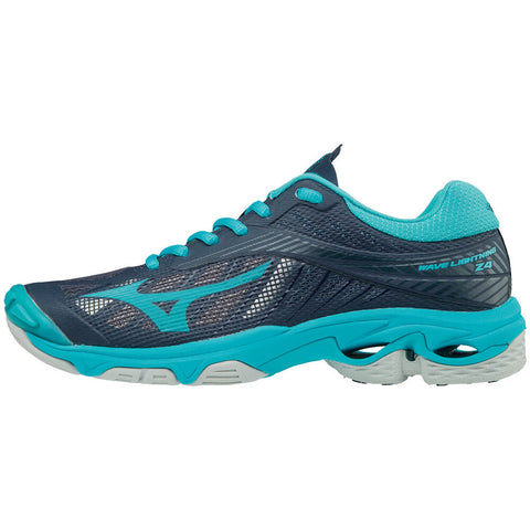 MIZUNO WOMEN'S WAVE LIGHTNING Z4 INDOOR COURT SHOE NAVY/AQUA