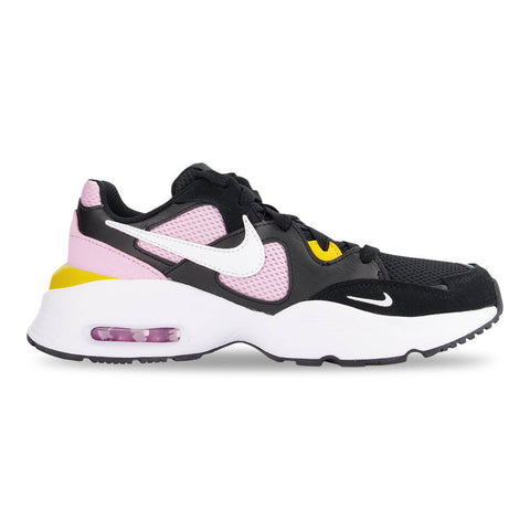 NIKE GIRLS GRADE SCHOOL AIR MAX FUSION KIDS SHOE BLACK/WHITE/PINK/DARK SULFER