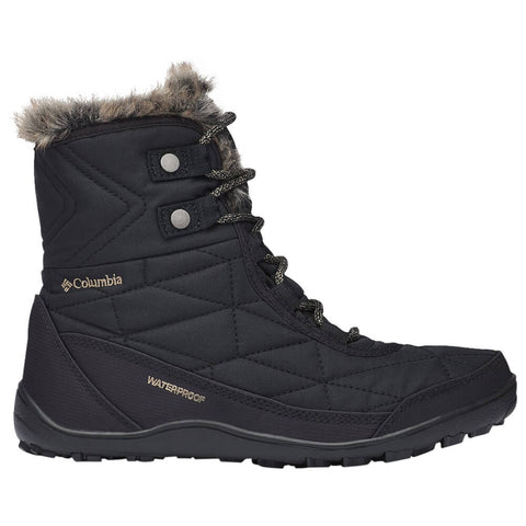 COLUMBIA WOMEN'S MINX SHORTY III WATERPROOF WINTER BOOT BLACK/PEBBLE