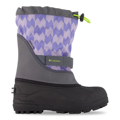 COLUMBIA GIRLS POWDERBUG PLUS II PRINT WATERPROOF WINTER BOOT GRAPHITE/VOLTAGE