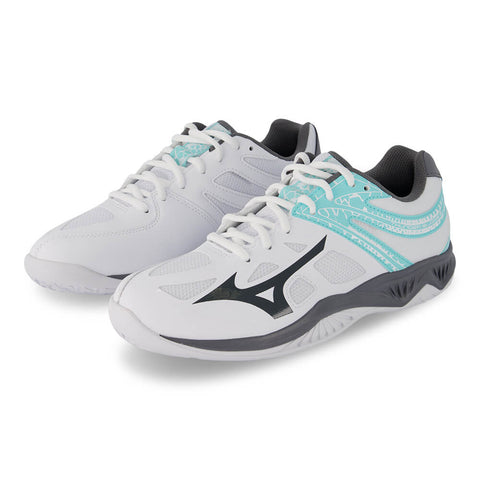 MIZUNO WOMEN'S THUNDER BLADE 2 INDOOR COURT SHOE WHITE/TEAL
