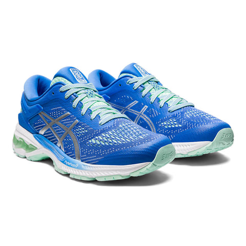 ASICS WOMEN'S GEL KAYANO 26 RUNNING SHOE BLUE/SILVER