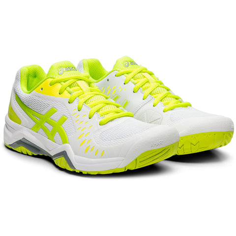 ASICS WOMEN'S GEL-CHALLENGER 12 TENNIS SHOE WHITE/SAFETY YELLOW