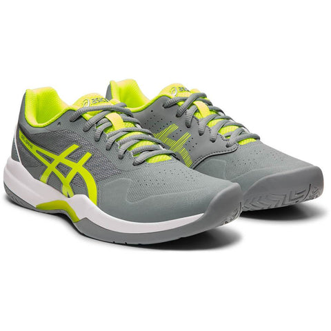 ASICS WOMEN'S GEL-GAME 7 TENNIS SHOE STONE GREY/SAFETY YELLOW