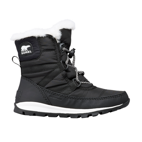 SOREL GIRLS WHITNEY II SHORT LACE WATERPROOF WINTER BOOT BLACK