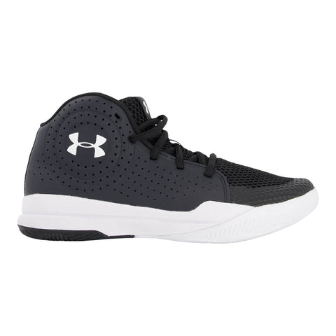 UNDER ARMOUR BOYS GRADE SCHOOL JET BASKETBALL SHOE BLACK/WHITE/WHITE