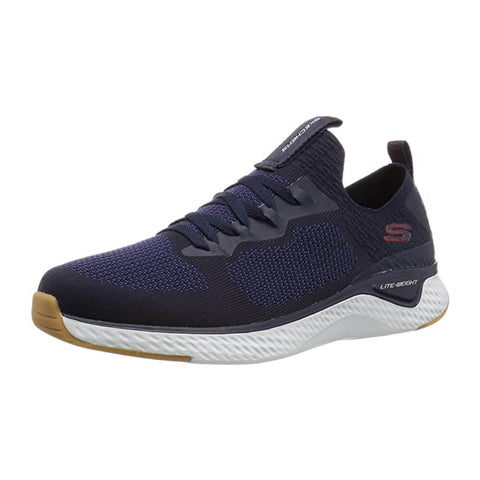 SKECHERS MEN'S SOLAR FUSE - VALEDGE LIFESTYLE SHOE NAVY/RED
