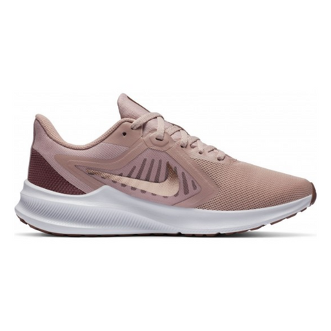 NIKE WOMEN'S DOWNSHIFTER 10 RUNNING SHOE STONE MAUVE/METALLIC RED/BRONZE/SMOKEY