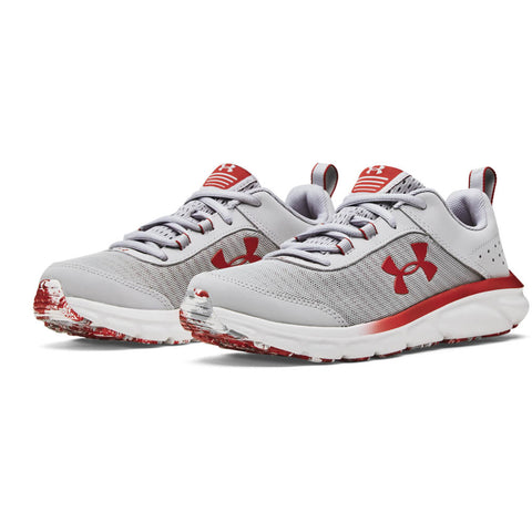 UNDER ARMOUR BOYS GRADE SCHOOL ASSERT 8 KIDS SHOE GREY/WHITE/FIREBALL