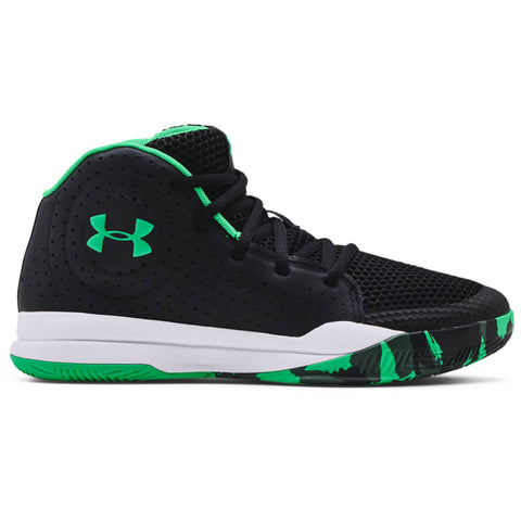 UNDER ARMOUR BOYS GRADE SCHOOL JET BASKETBALL KIDS SHOE BLACK/WHITE/VAPOR GREEN