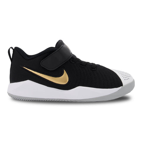 NIKE BOYS PRE-SCHOOL TEAM HUSTLE QUICK 2 KIDS SHOE BLACK/GOLD/GREY/WHITE