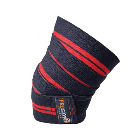 PRO GRYP DELUXE REDLINE KNEE WRAP BLACK ON KNEE