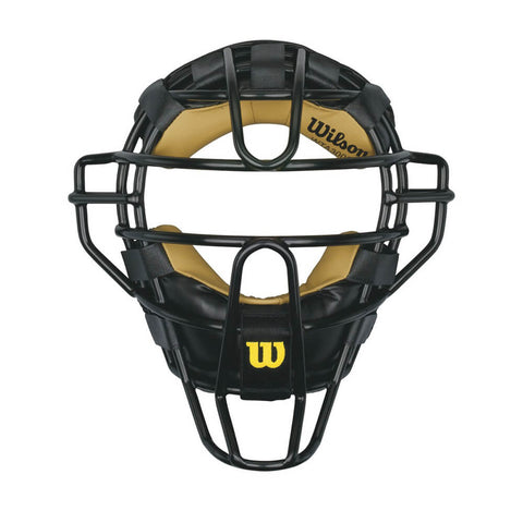WILSON DYNA-LITE STEEL UMPIRE MASK - LEATHER PADDING
