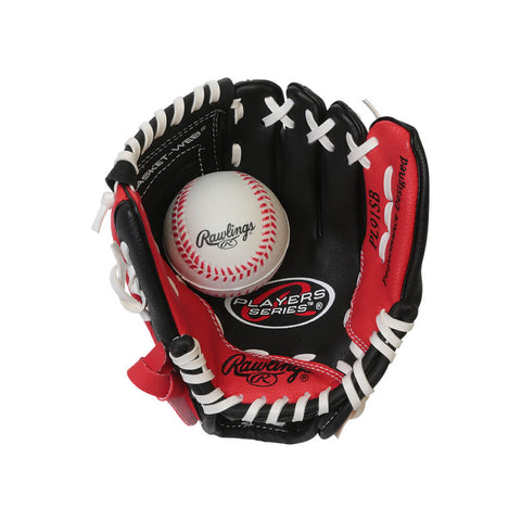 RAWLINGS PLAYERS SERIES 9 INCH GLOVE WITH BALL RED LEFT HAND THROW