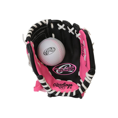 RAWLINGS PLAYERS SERIES 9 INCH GLOVE WITH BALL PINK LEFT HAND THROW