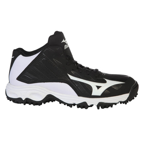 MIZUNO MEN'S ADVANCED ERUPT 3 MID BLACK/WHITE BASEBALL CLEAT