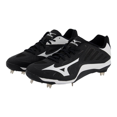 MIZUNO MEN'S HEIST IQ BASEBALL METAL CLEAT BLACK/WHITE