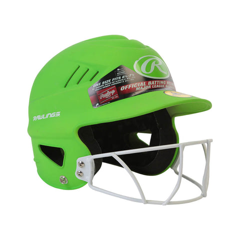 RAWLINGS COOLFLO FASTPITCH BATTING HELMET W/MASK MATTE NEON GREEN