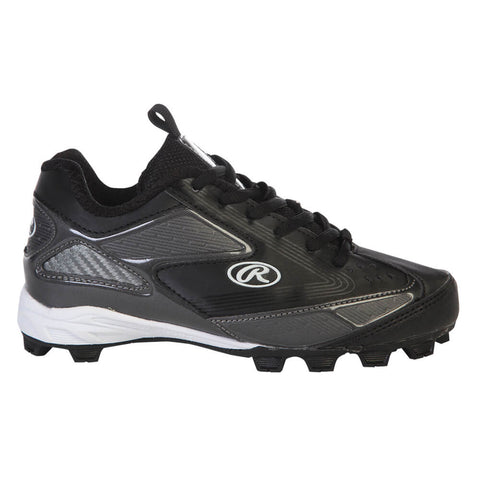 RAWLINGS JR PEAK LOW BLACK BASEBALL CLEAT