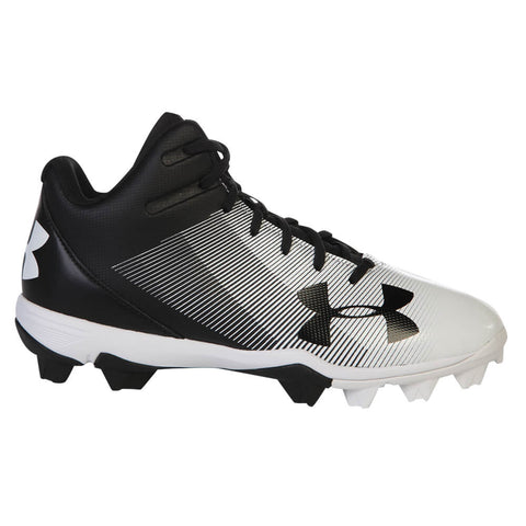 11823f020 UNDER ARMOUR MEN S LEADOFF MID RM BLACK WHITE BASEBALL CLEAT ...
