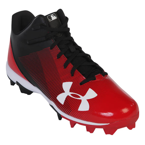 UNDER ARMOUR MEN'S LEADOFF MID RM BLACK/RED BASEBALL CLEAT