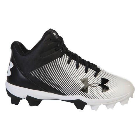 UNDER ARMOUR JR LEADOFF MID RM BLACK/WHITE BASEBALL CLEAT