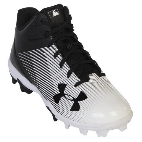 93b3e117e3e ... UNDER ARMOUR JR LEADOFF MID RM BLACK WHITE BASEBALL CLEAT