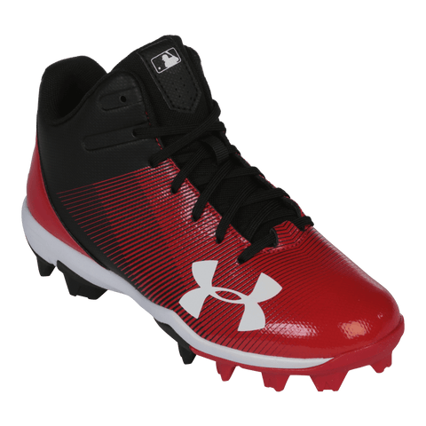 UNDER ARMOUR JR LEADOFF MID RM BLACK/RED BASEBALL CLEAT