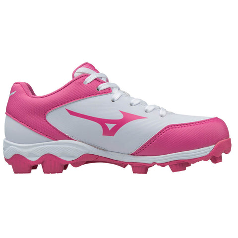 MIZUNO GIRLS 9 SPIKE ADVANCED FINCH FRANCHISE 7 WHITE/PINK BASEBALL CLEAT