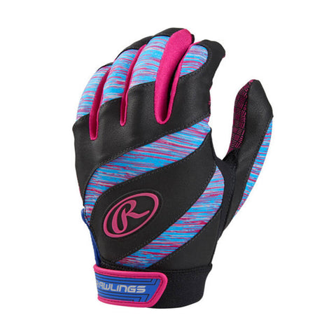 RAWLINGS GIRLS BATTING GLOVE ECLIPSE MEDIUM BLUE/PINK