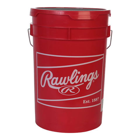 RAWLINGS MLB / NATIONAL SPORTS LOGOED SCARLETT BUCKET WITH 18  RTL PRACTICE BALLS