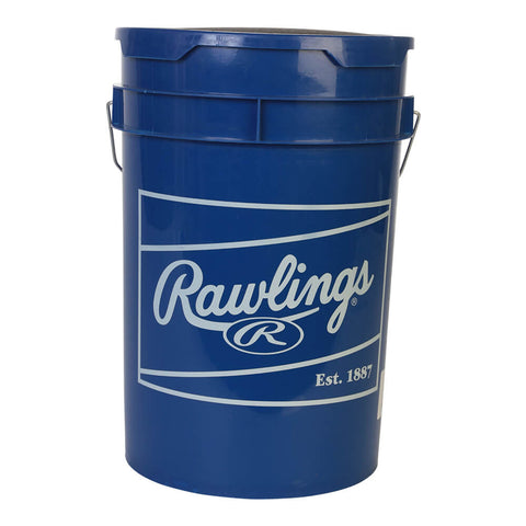 RAWLINGS MLB / NATIONAL SPORTS LOGOED ROYAL BUCKET WITH 18  RTL PRACTICE BALLS
