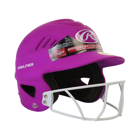 RAWLINGS COOLFLO FASTPITCH BATTING HELMET W/MASK MATTE NEON PURPLE