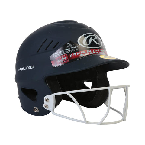 RAWLINGS COOLFLO FASTPITCH BATTING HELMET W/MASK MATTE NAVY
