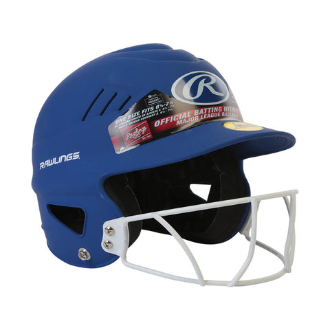 RAWLINGS COOLFLO FASTPITCH BATTING HELMET W/MASK MATTE ROYAL
