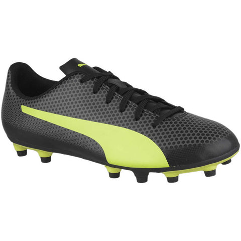 PUMA JUNIOR SPIRIT FG BLACK FIZZY YELLOW CATOR GRAY SOCCER CLEAT