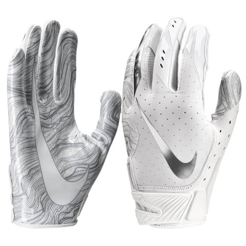 NIKE MEN'S VAPOR JET 5.0 WHITE / CHROME SMALL FOOTBALL GLOVE