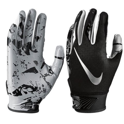 NIKE YOUTH VAPOR JET 5.0 BLACK / CHROME LARGE FOOTBALL GLOVE