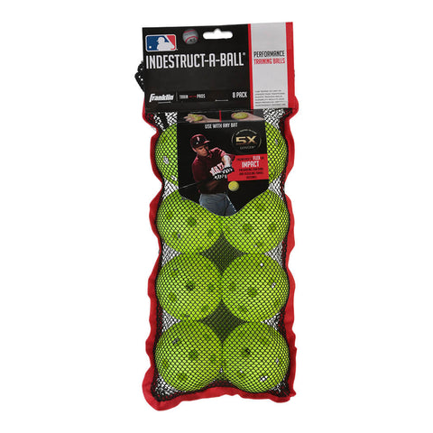 FRANKLIN INDESTRUCT-A-BALL 9 INCH OPTIC WIFFLE BALL - 8 PACK